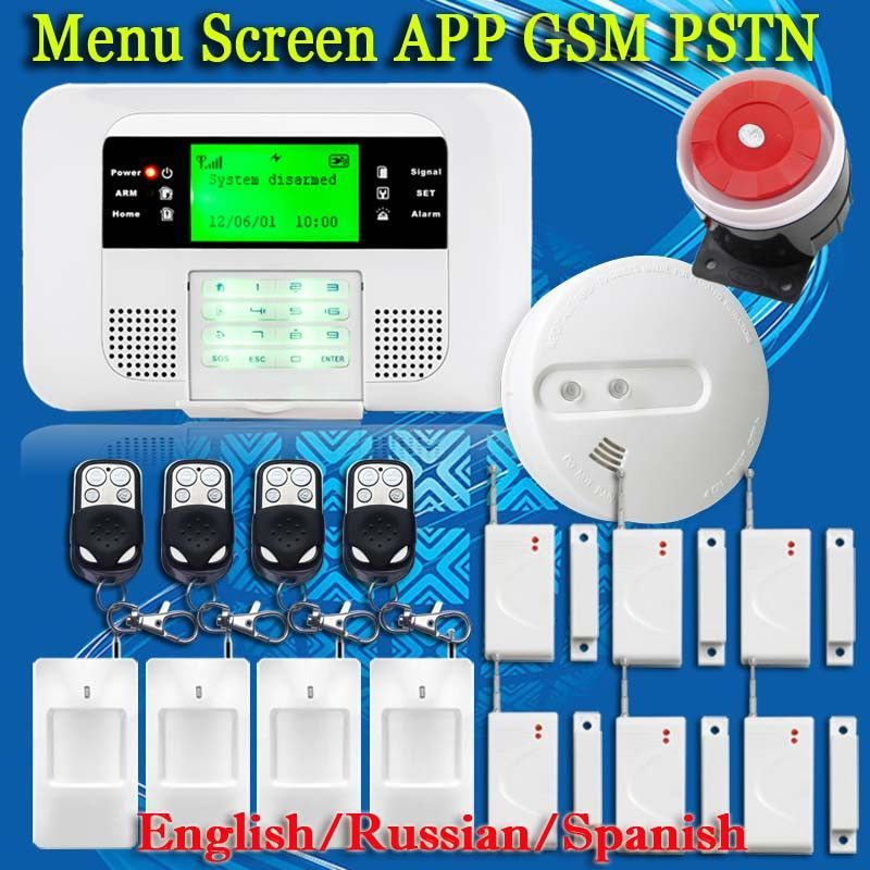 Free Shipping!Upgrade Menu Screen GSM PSTN Wireless 433MHZ SMS Home ...