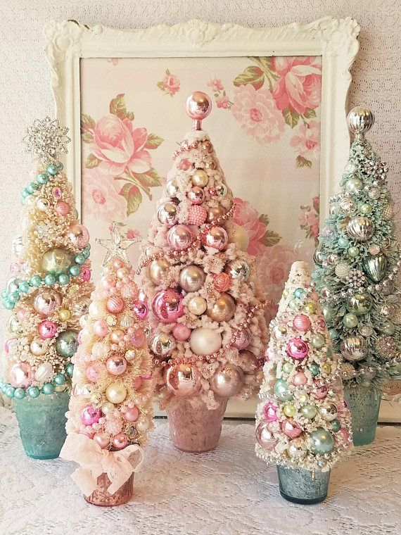 This listing is for a gift box thats a gift in itself! I decorated a cream colored bottle brush tree with pink and silver mercury glass, vintage beads and sparkling snowflake rhinestones, then attached it to a silver, glittered, polka dot gift box! This is so lovely. Use it as a