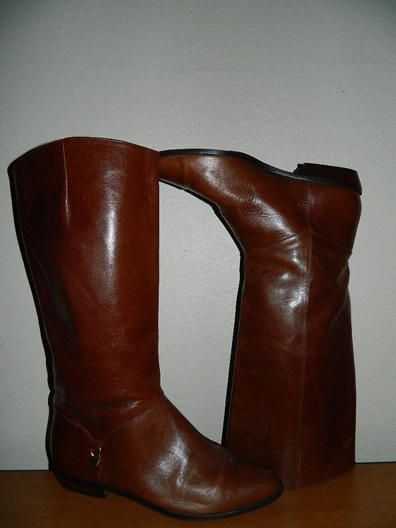 152bf9b1e9 Sale Vintage Etienne Aigner Brown Camel Leather Tall Riding Boots Size 8 M  Made In Brazil