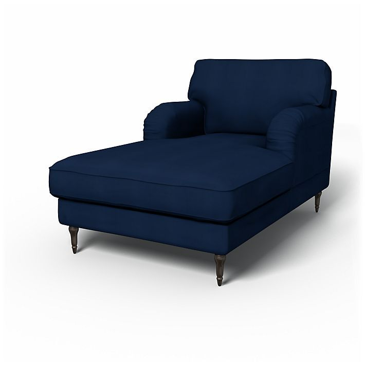 Stocksund sofa covers chaise longue regular fit using for Blue leather chaise