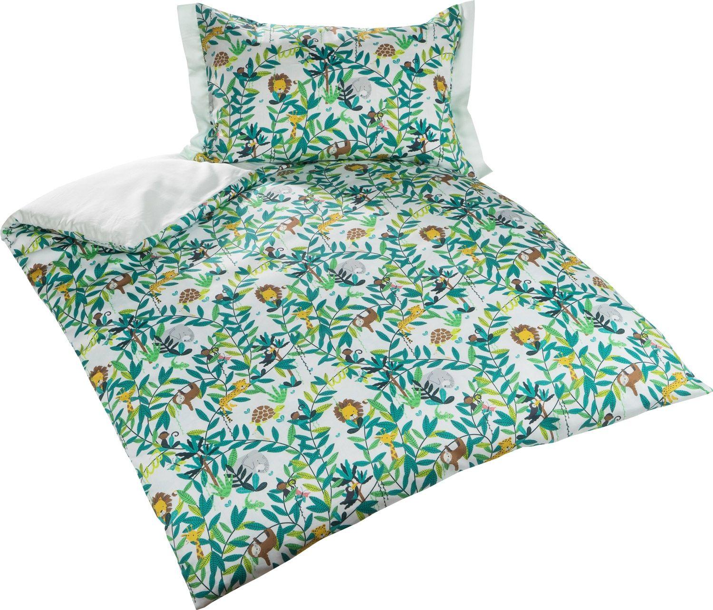 Bettwäsche Kinder Mako Satin.Mako Satin Kinder Bettwasche Dschungel Pastell Grun Von