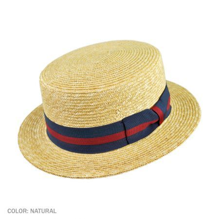 Vintage Men/'s Straw Panama Hat with Small Blue Feather.