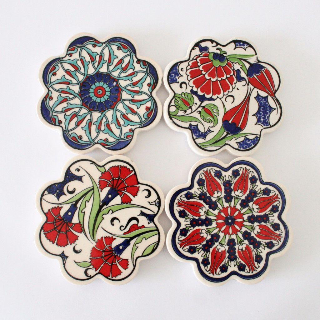 Turkish ceramic tile daisy coasters turkish ceramic trivets turkish ceramic tile daisy coasters dailygadgetfo Images