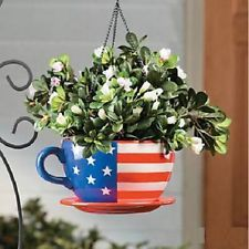 Hanging Patriotic Flower Planter American Flag Coffee Mug Cup 10-1/4