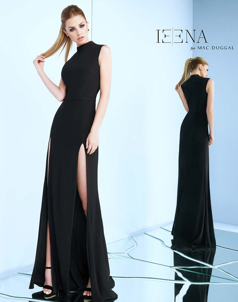 Standout in this high neck sleeveless slit dress this piece can