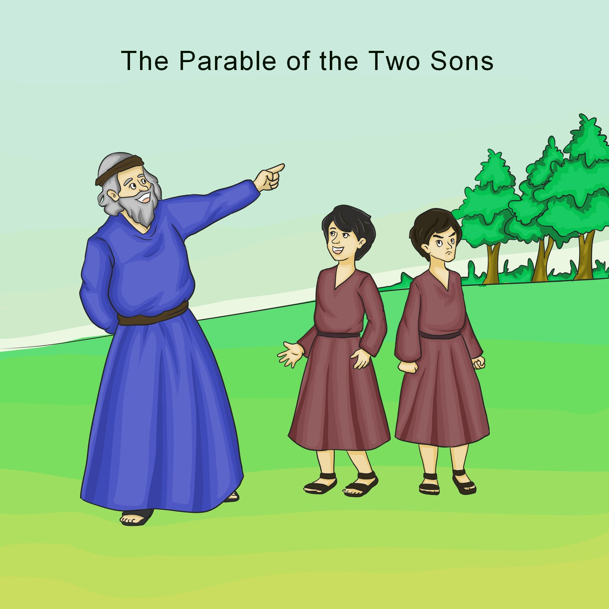 Image result for parable of two sons illustrations