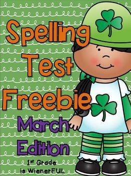 Spelling Test FREEBIE~ March Edition! :o) 9 Themed Spelling Test ...