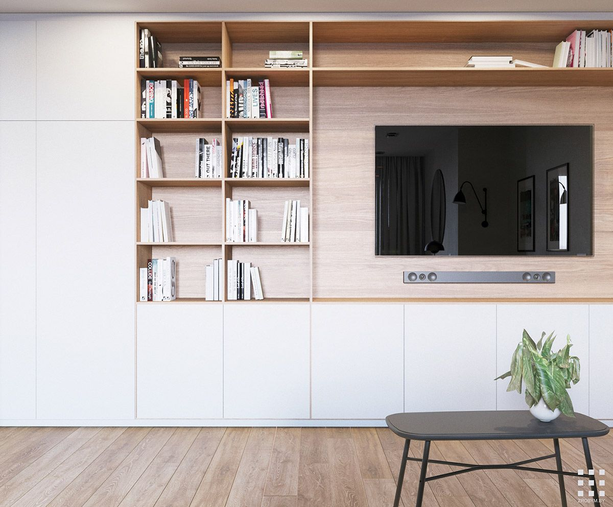 Small Serene Family Apartment In Minsk In 2020 Living Room Storage Diy Living Room Decor Small Living Room Storage #small #living #room #storage