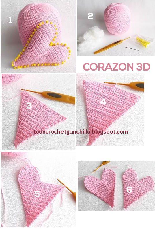 Corazón Crochet 3D / Paso a paso | Todo crochet … | Pinteres…
