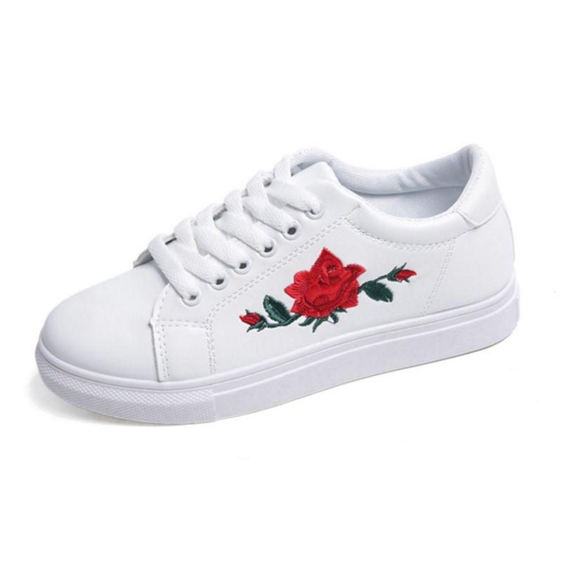 4cffe768c5 Women Skateboarding Shoes White PU Leather Women Sneakers Outdoor ...