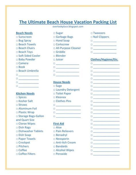 The Ultimate Beach House Vacation Packing List Beach