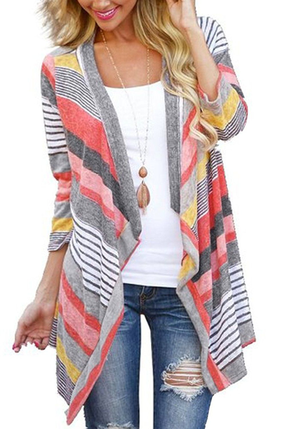 Myobe Womens 3 4 Sleeve Red Striped Aztec Open Front Cable Knit ...