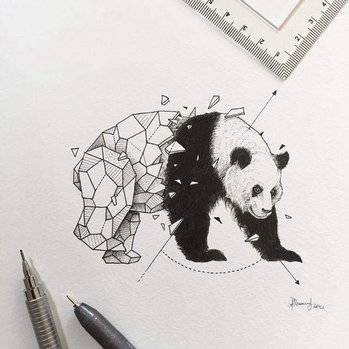 Geometric Beasts Panda Kerby Rosanes Panda Art