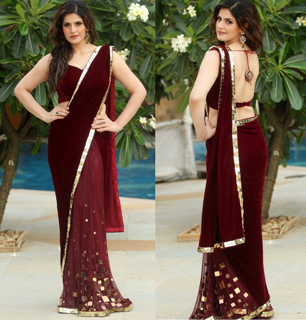 Amazing indian saree burgundy velvet evening dress with gold