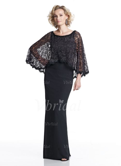 Mother of the Bride Dresses - $152.99 - Sheath/Column Scoop Neck Floor-Length Chiffon Lace Mother of the Bride Dress With Beading Sequins (00805008514)