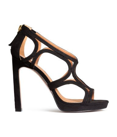 4cd54f6f578 Sandals in black imitation suede with triangular heels