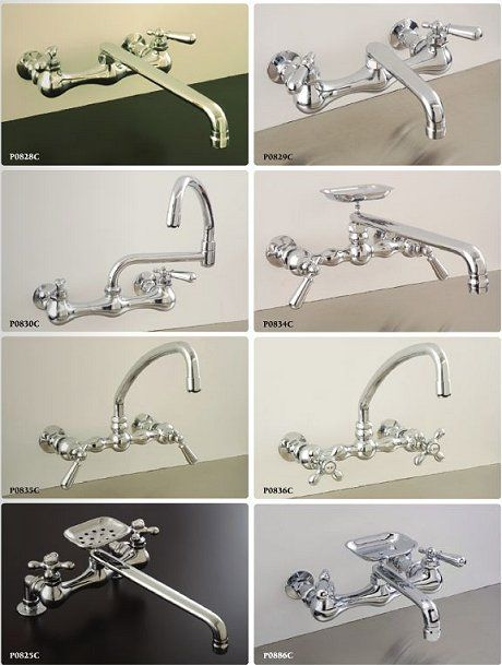 """If you have a bungalow kitchen, a farmhouse kitchen, a cottage kitchen — or just like the look — a wall-mount kitchen faucet may be for you. For sure, these say """"old-fashioned Aunty Em homey"""", don't they? I am certain there are lots of brands out there, but if I were looking, the first place I would turn to is these eight vintage style kitchen faucets from Strom Plumbing / Sign of the Crab."""