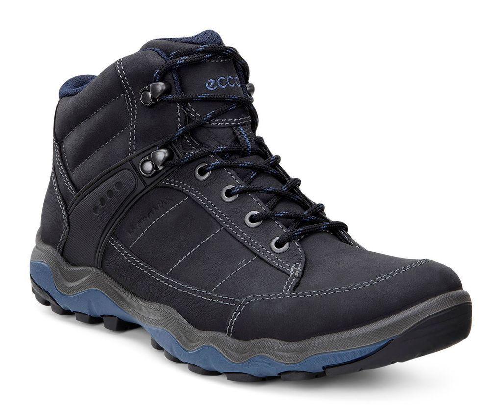 Ecco Mens Ulterra Dhaka Mid Black Denim Blue Boots Best Shoes For Men Boots Men