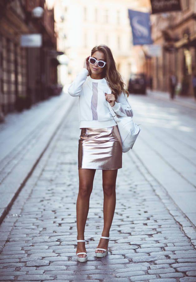 River Island Rose Gold High Waisted Metallic Mini Skirt ...
