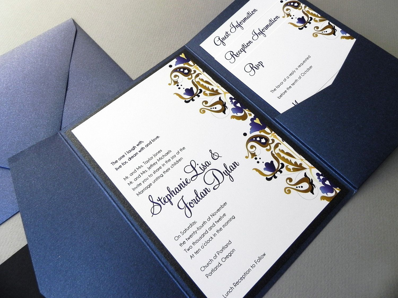 Sapphire Blue Damask Wedding Invitation Suite Rsvp Card 2 Insert