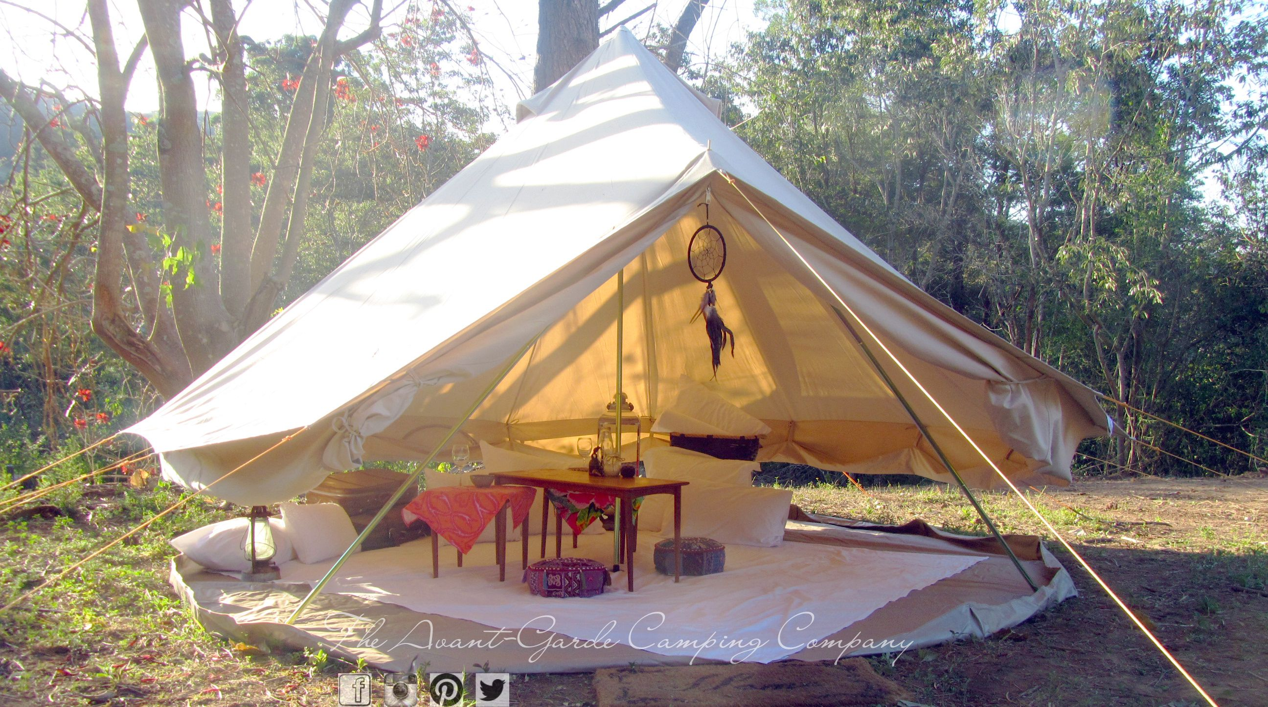 The Avant-Garde C&ing Company Bell Tent for Hire (sides rolled up for picnic) Styled by The Avant-Garde C&ing Company & The Avant-Garde Camping Company 4m Bell Tent for Hire (sides ...