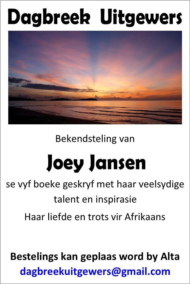 Nuwe boeke deur Joey Jansen