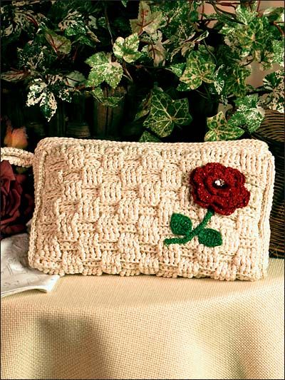Basket Weave Clutch Size 5 Crochet Cotton In A Natural Color Gives