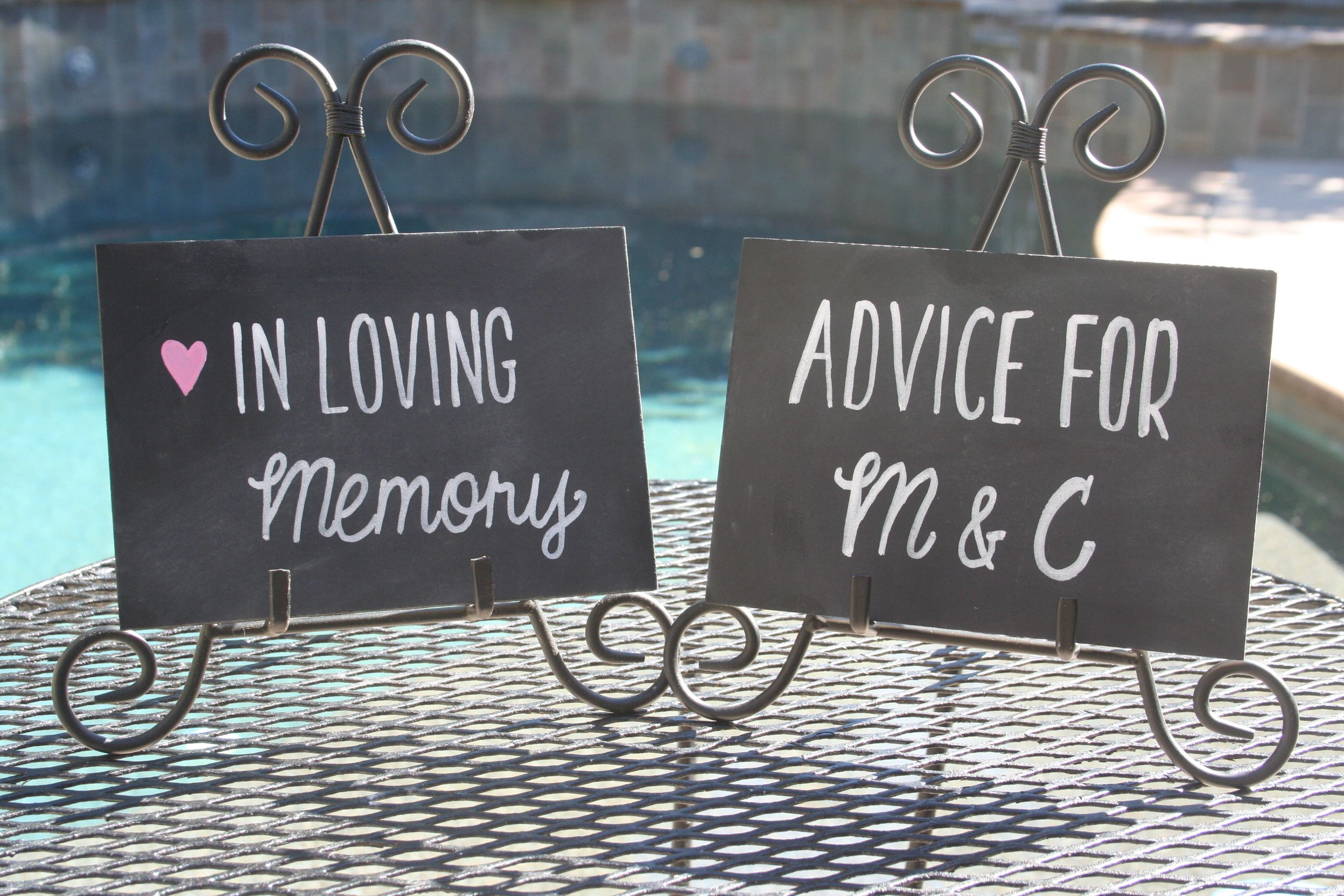 5 x 7 custom chalk wedding signs. advice. in loving memory. pink heart detail