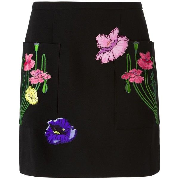 Christopher Kane flower sticker skirt (£325) ❤ liked on Polyvore featuring skirts, mini skirts, bottoms, black, short mini skirts, multicolor skirt, flower skirt, straight skirt and flower mini skirt