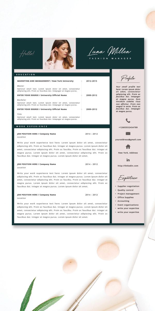 Fashion Resume, CV Template, Resume Template, Creative Resume, 2