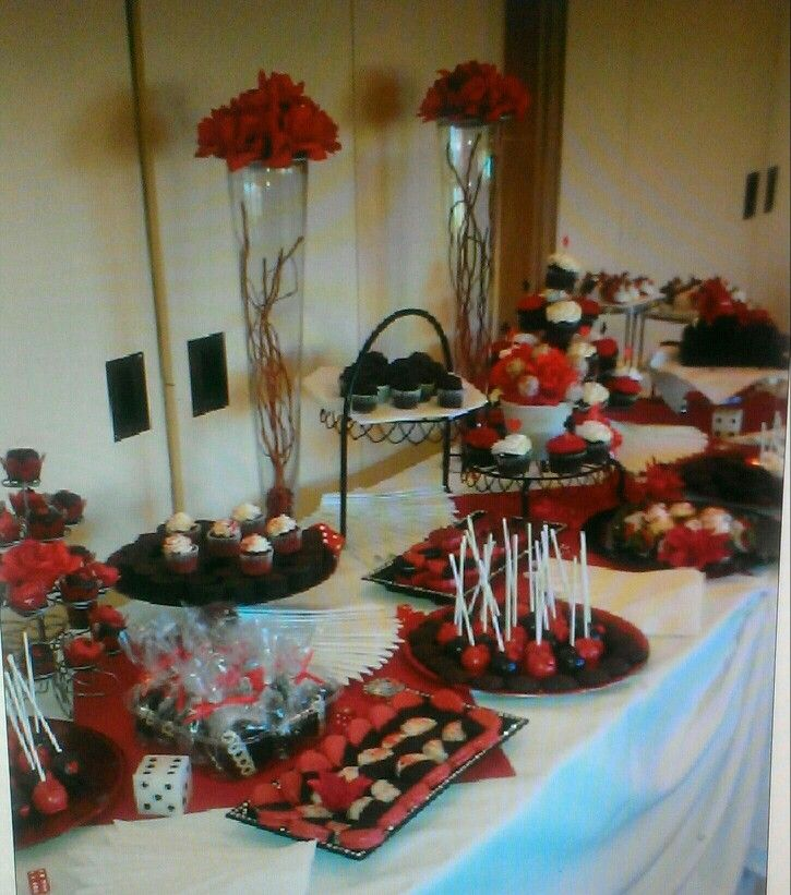 Red Black And White Dessert Table Dinner Party Decorations