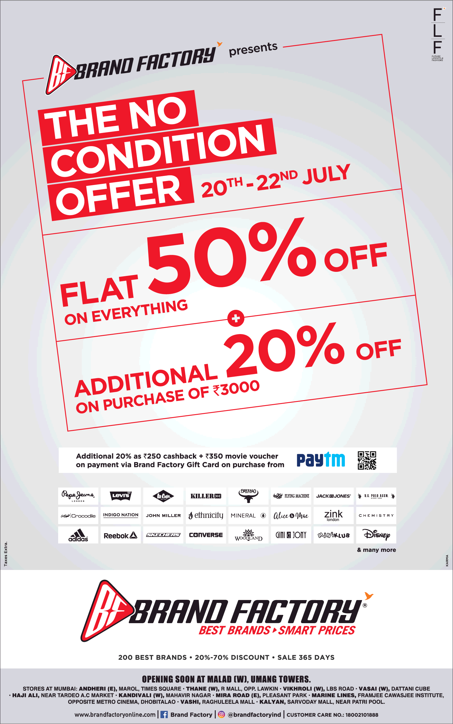 Brand Factory The No Condition Offer Flat 50 Off Ad