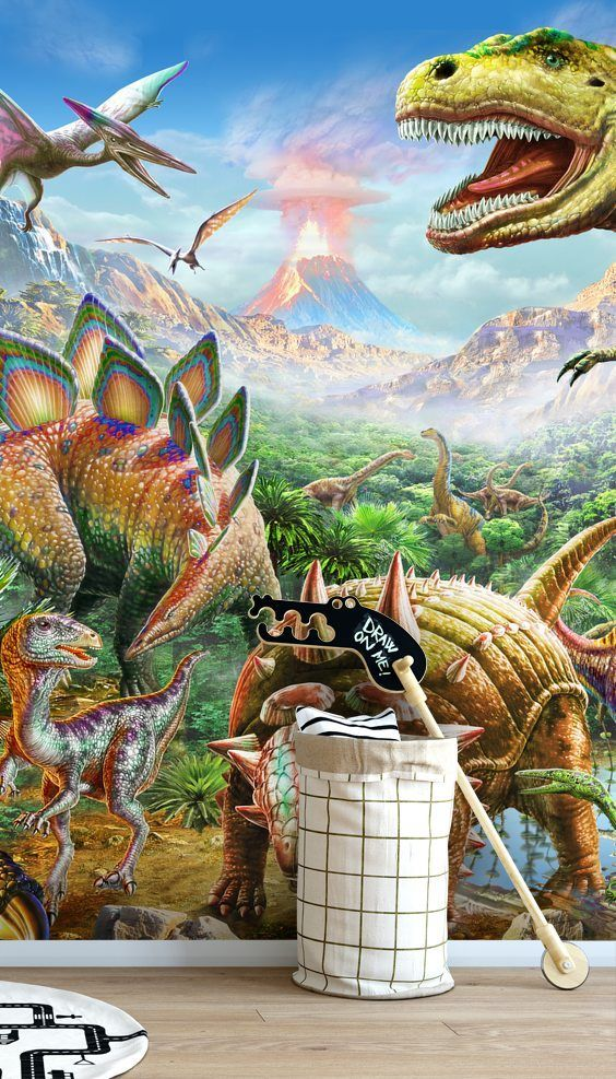 Stunning Dino Group wall mural from Wallsauce. This high