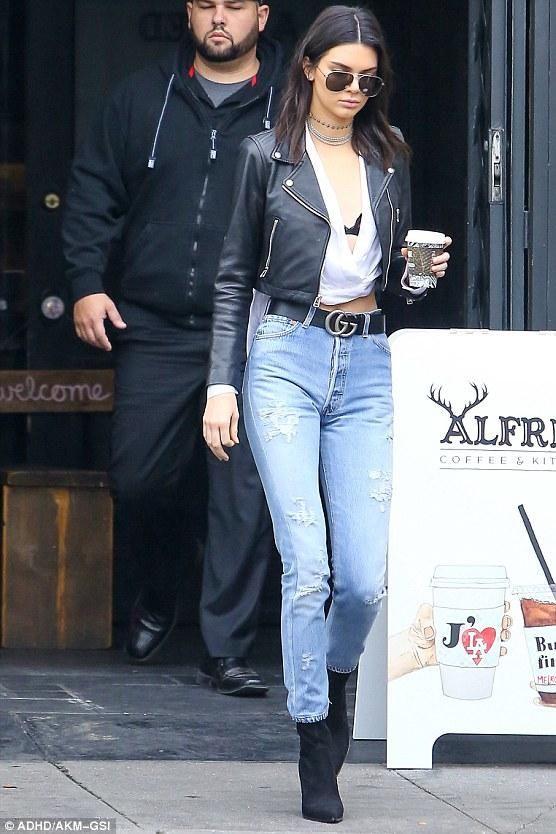 1c76e6829127 Kendall Jenner wearing Laer Cropped Moto Leather Jacket