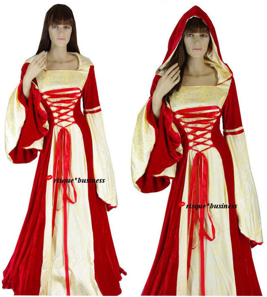 Medieval Red Gold Fancy Cloak Dress Gown Costume w Hood Snood - M / 12-14-16 #RisqueandRomantic #Dress #Costume