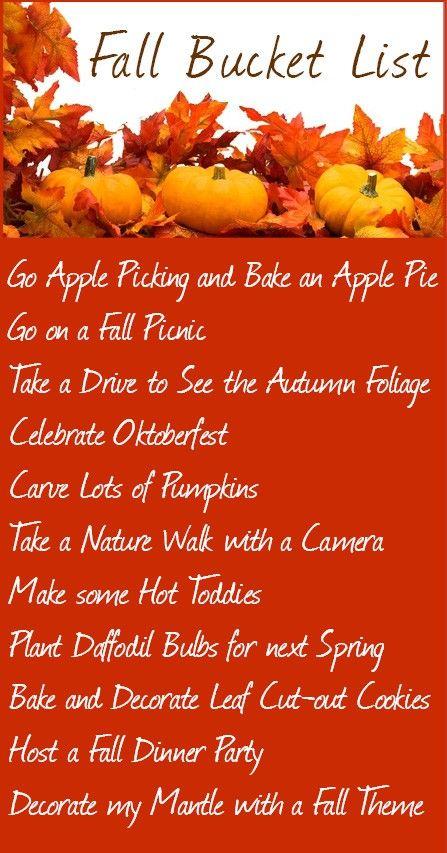 Fall Bucket List | Fall picnic, Fall, Happy fall y'all