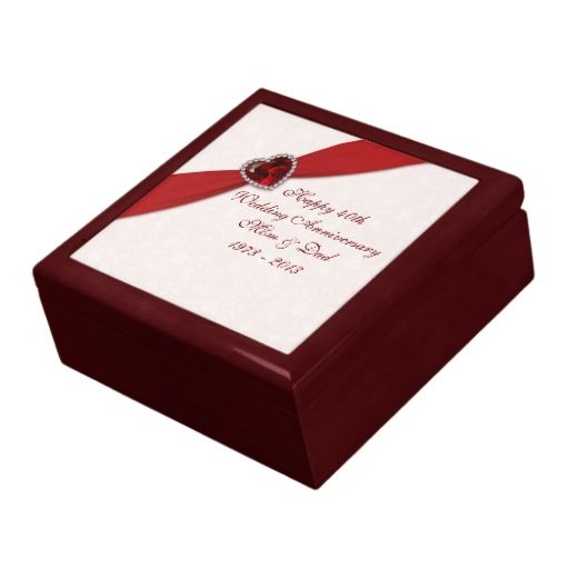 Damask 40th Wedding Anniversary Gift Box