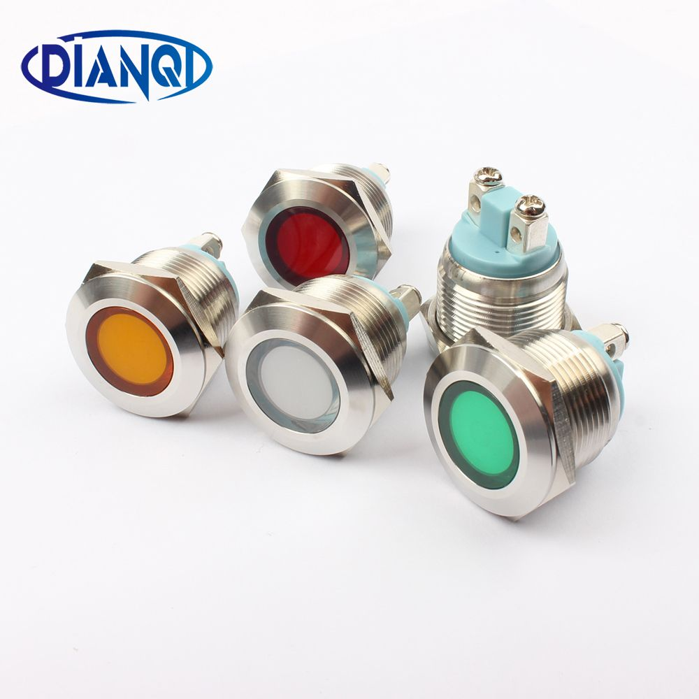 Led Metal Voyant 19mm Etanche Signal Lampe 3 V 6 V 12 V 24 V 220 V Vis Connect Rouge Jaune Bleu Blanc 19zsd Py L Lamp Light Indicator Lights Lead Metal