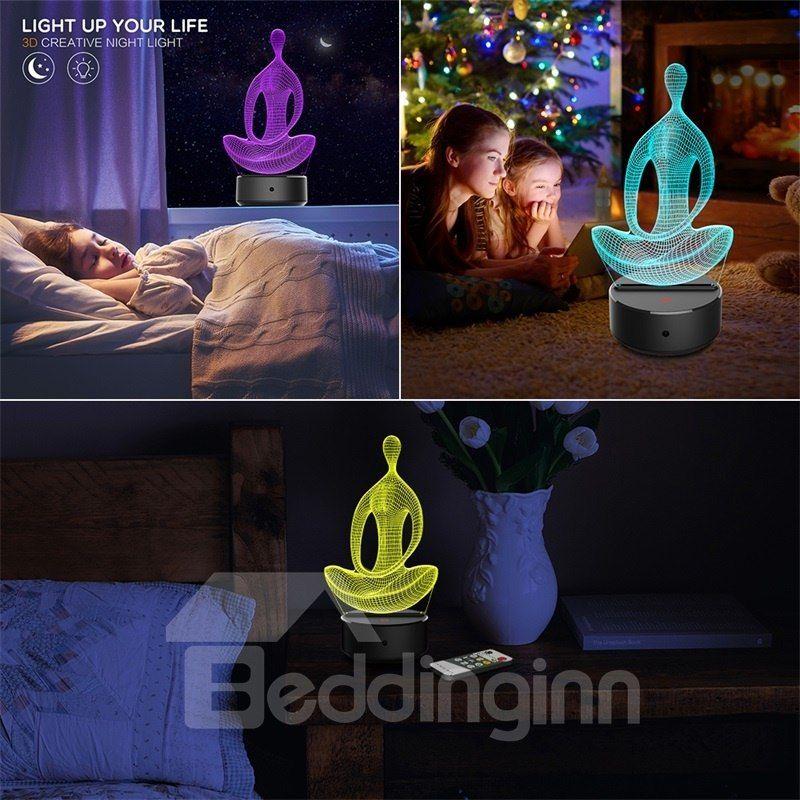 7 Colors Remote Control Yoga Position 3d Light Led Table Lamp Night Light Lamp Night Light Lamp Lamp Light Led Table Lamp