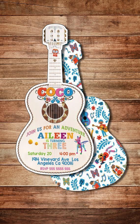 Coco Disney Miguel Guitar Invitation Birthday Heavy Cardstock Or Digital