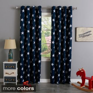 Shop For Aurora Home Room Darkening Big Star Print Silver Grommet - Room darkening curtains for kids