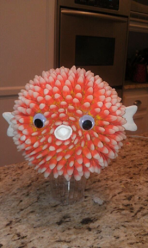 Pumpkin puffer fish diy all you need is 3 bags of candy for Puffer fish costume