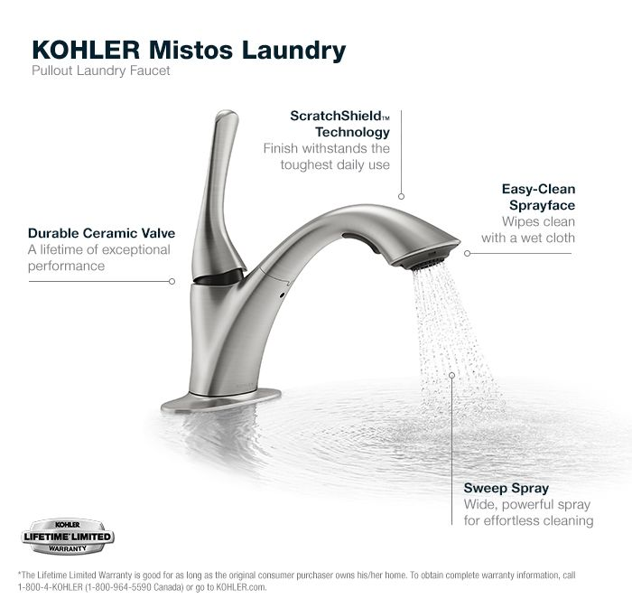Kohler Mistos Single Handle Pull Out Laundry Utility Faucet In