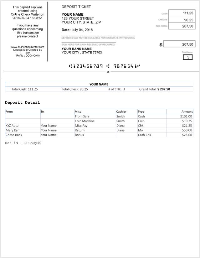 Create Deposit Slip Online For Any Bank Anytime Print On White Paper Online Checks Deposit Online