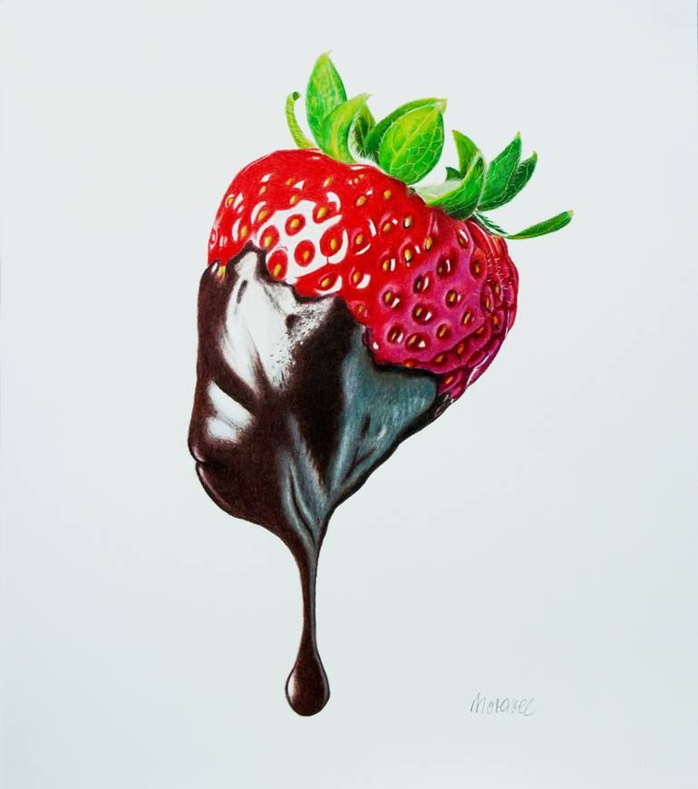 Photo of Original Food Drawing by Dietrich Moravec | Photorealism Art on Paper | Sweet Seduction