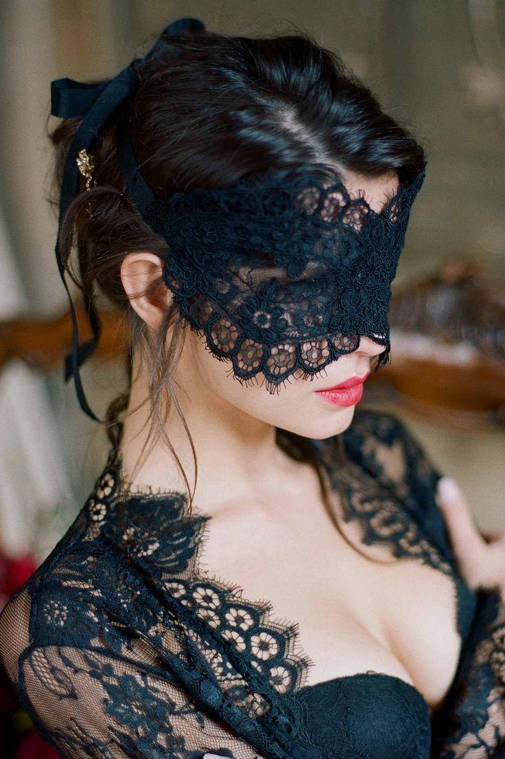 Photo of Rayna Alencon Lace Blindfold Venetian Eye Mask in Ivory or Black