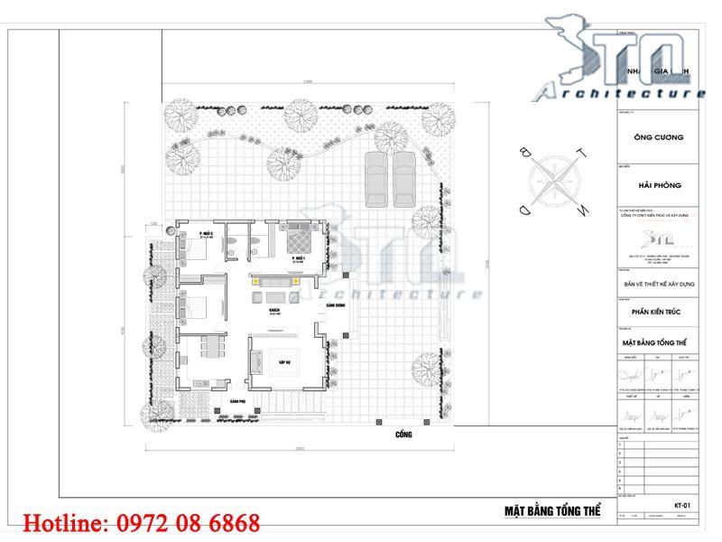 Mặt bằng tổng thể - Nhà cấp 4 200m2 mặt tiền 15m Biệt thự 1 tầng