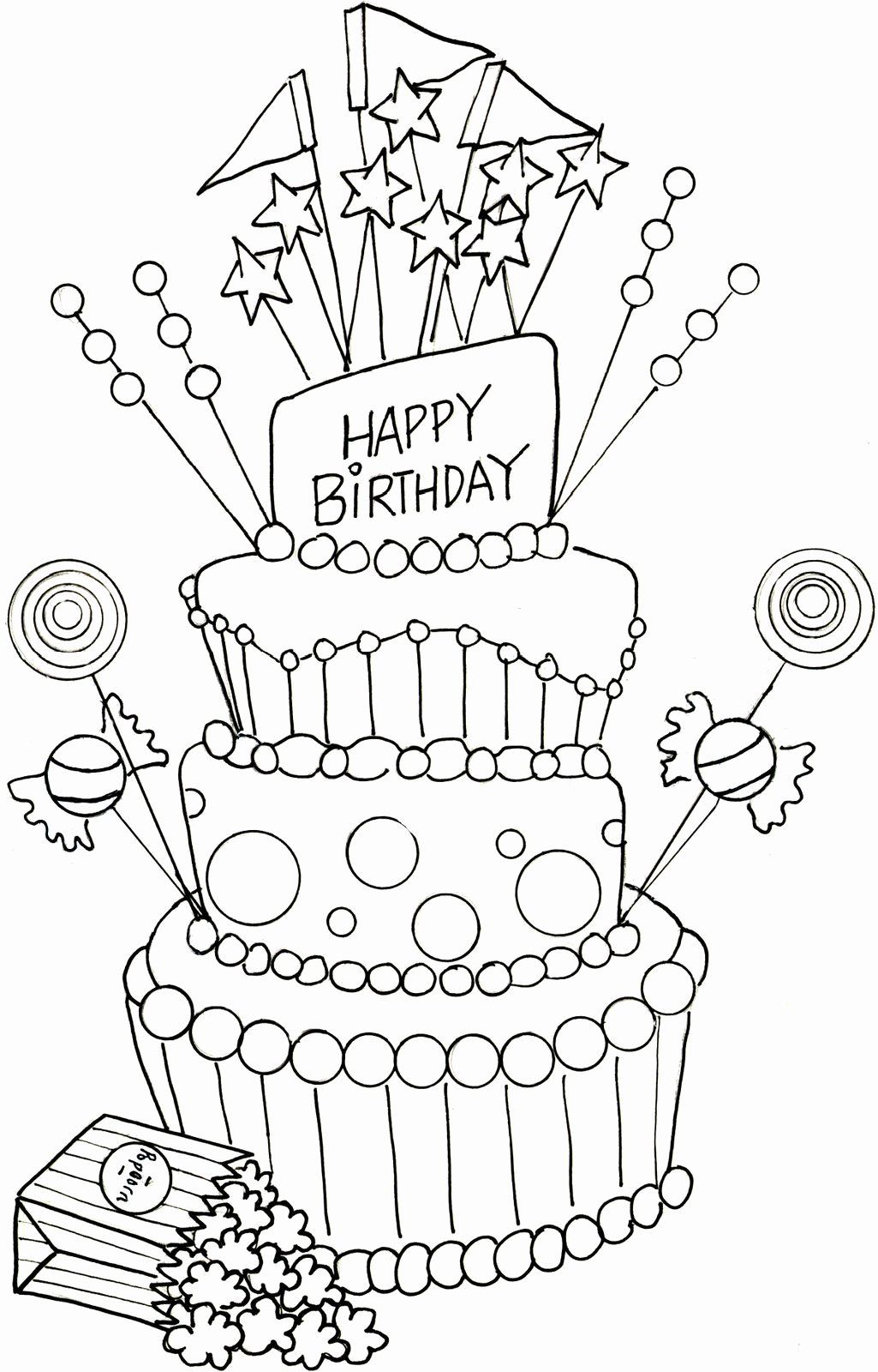 Birthday Cakes Coloring Pages Inspirational Coloring Pages 56 Incredible Happy Bi Happy Birthday Coloring Pages Birthday Coloring Pages Happy Birthday Drawings