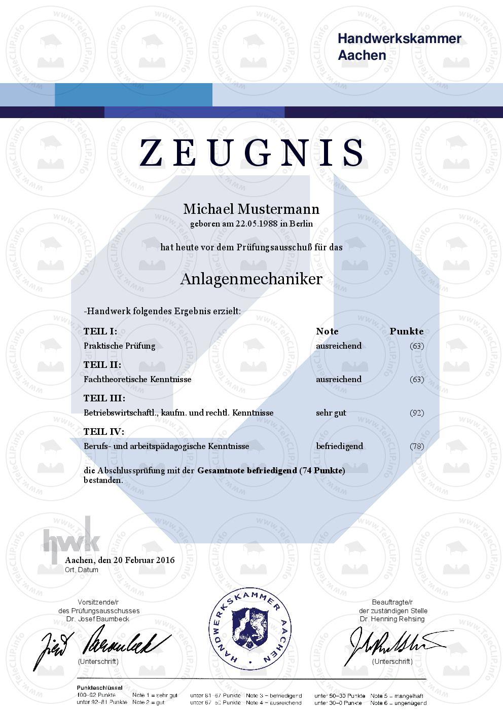 Professionelle HWK Zeugnisse – Individuelle Urkunden & Dokumente ...