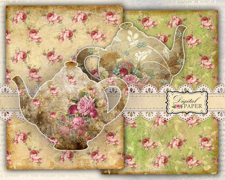 TEA paper and Teapot - digital collage - set of 3 sheet - printable paper de bydigitalpaper en Etsy https://www.etsy.com/es/listing/116725754/tea-paper-and-teapot-digital-collage-set